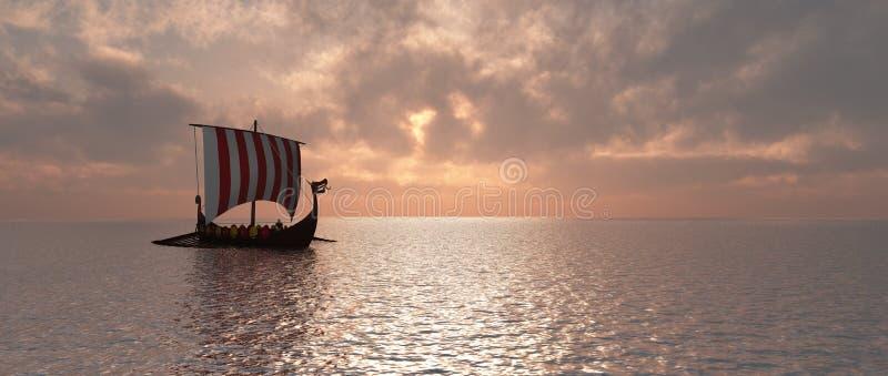 Viking skepp på skymning royaltyfri illustrationer