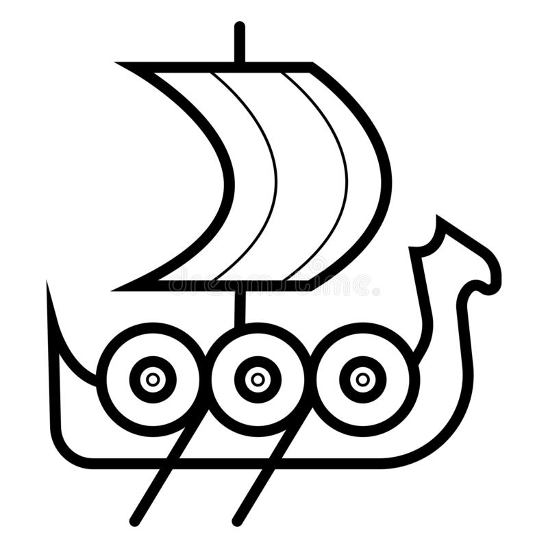Viking skeppsymbol stock illustrationer