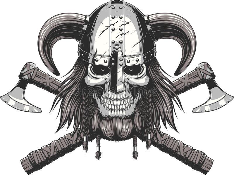 Viking Skull in helm royalty-vrije illustratie