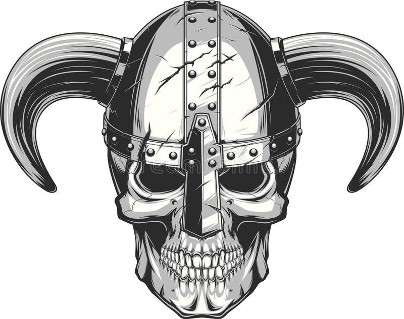 Viking Skull i hjälm royaltyfri illustrationer