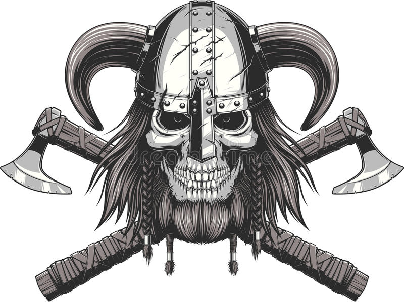 Viking Skull i hjälm royaltyfri illustrationer