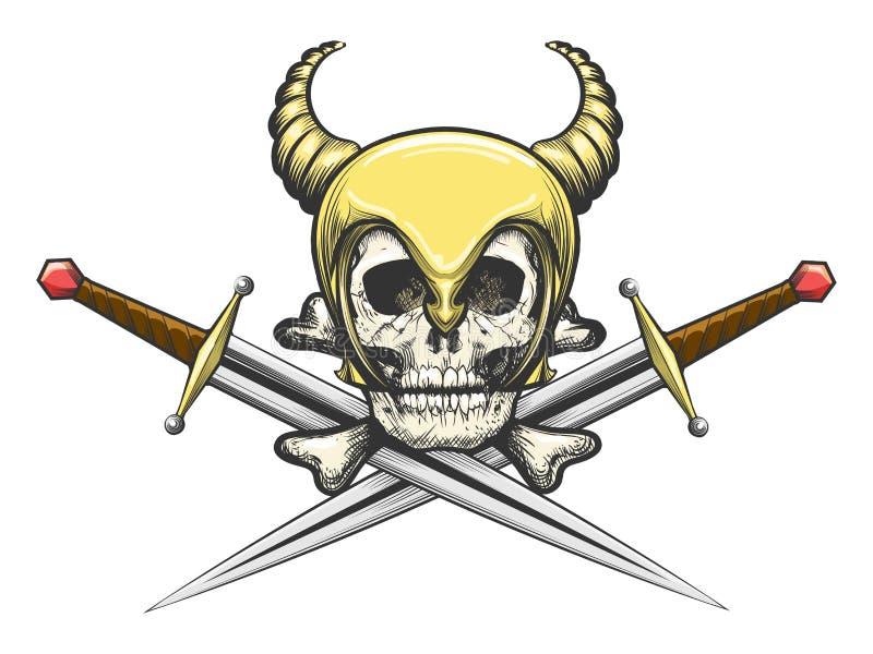Viking Skull i hjälm med svärd stock illustrationer