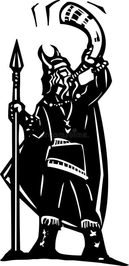 Viking som blåser krighornet royaltyfri illustrationer