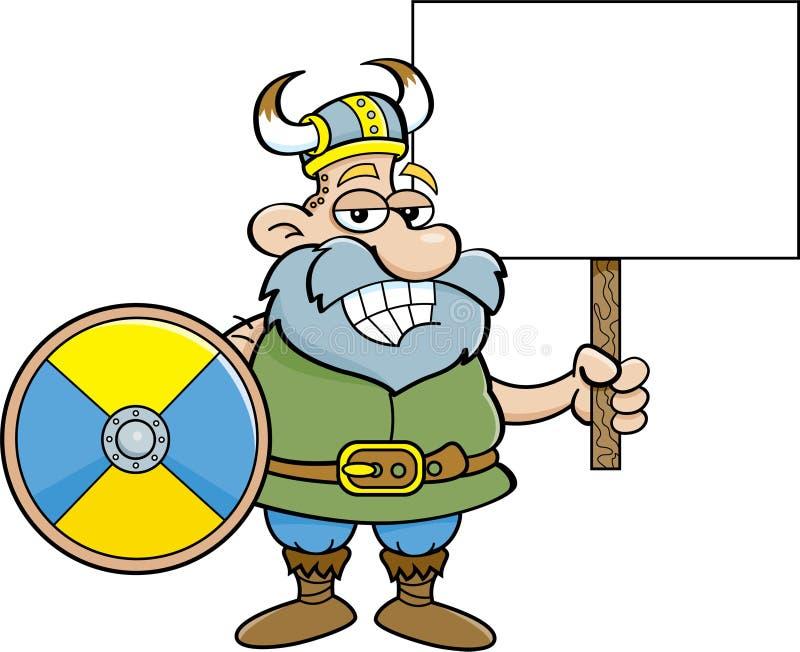 Viking som rymmer ett tecken vektor illustrationer
