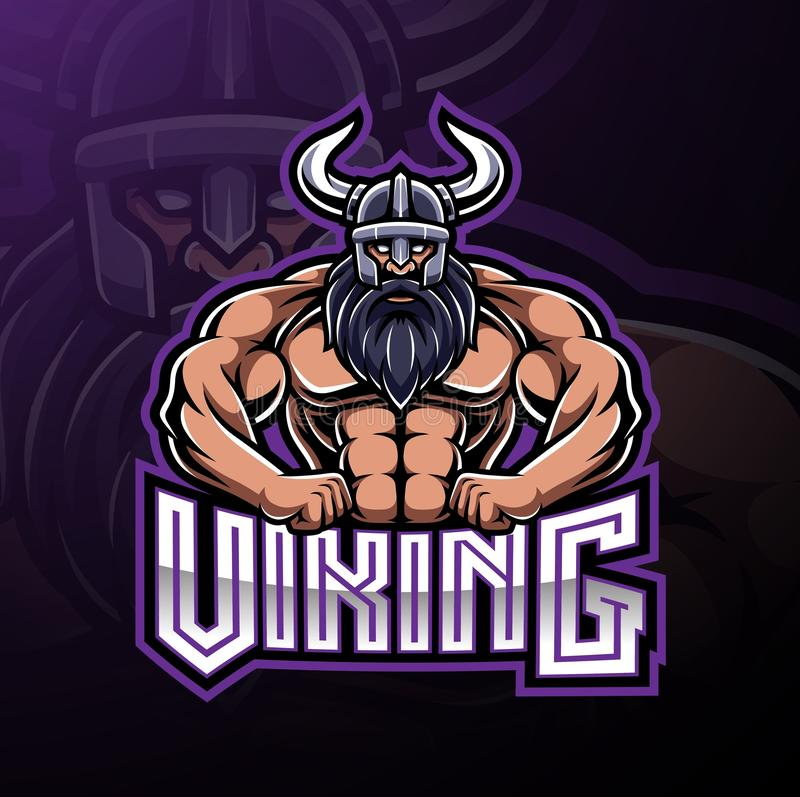 Viking-Sportmaskottchen-Logoentwurf stock abbildung