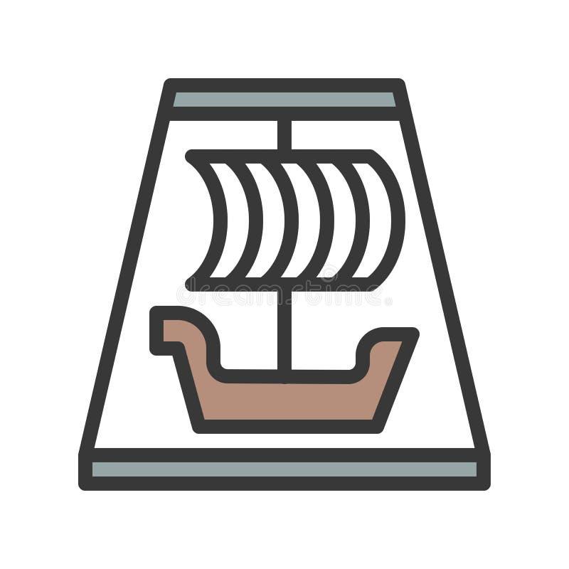 Viking statek jedzie wektorową ikonę, wypełniający konturu stylu editable str royalty ilustracja