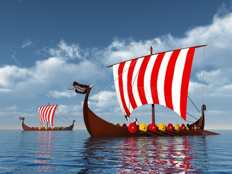 Viking statki ilustracji
