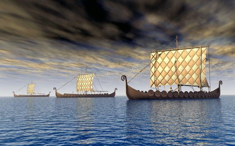 Viking statki royalty ilustracja