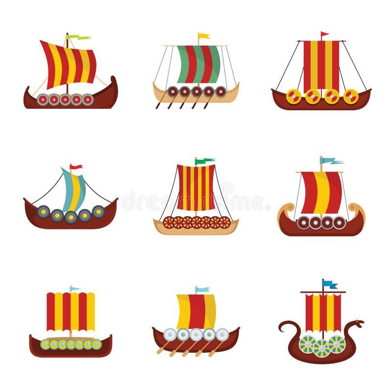 Viking statku łódkowate drakkar ikony ustawiać, mieszkanie styl ilustracji