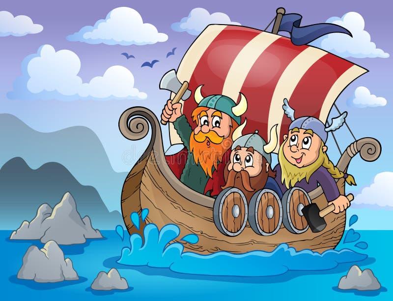 Viking statku tematu wizerunek 2 royalty ilustracja