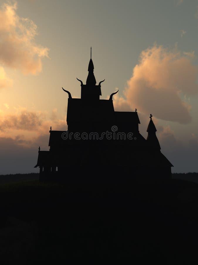 Download Viking Stave Church Au Coucher Du Soleil Illustration Stock - Illustration du imagination, histoire: 76090492