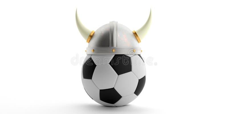Viking-Sturzhelm auf einem Fußball lokalisiert gegen weißen Hintergrund Abbildung 3D vektor abbildung