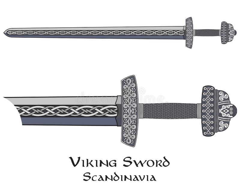 Viking sword decorated with Scandinavian pattern stock illustration
