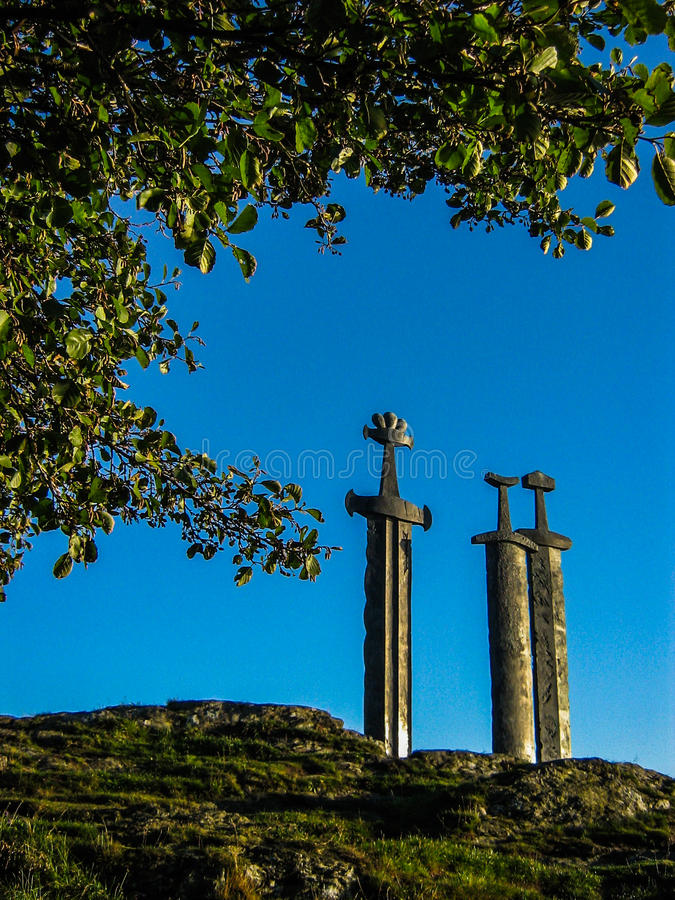 Viking swords. Three Swords Monument in Stavanger, Norway royalty free stock photography