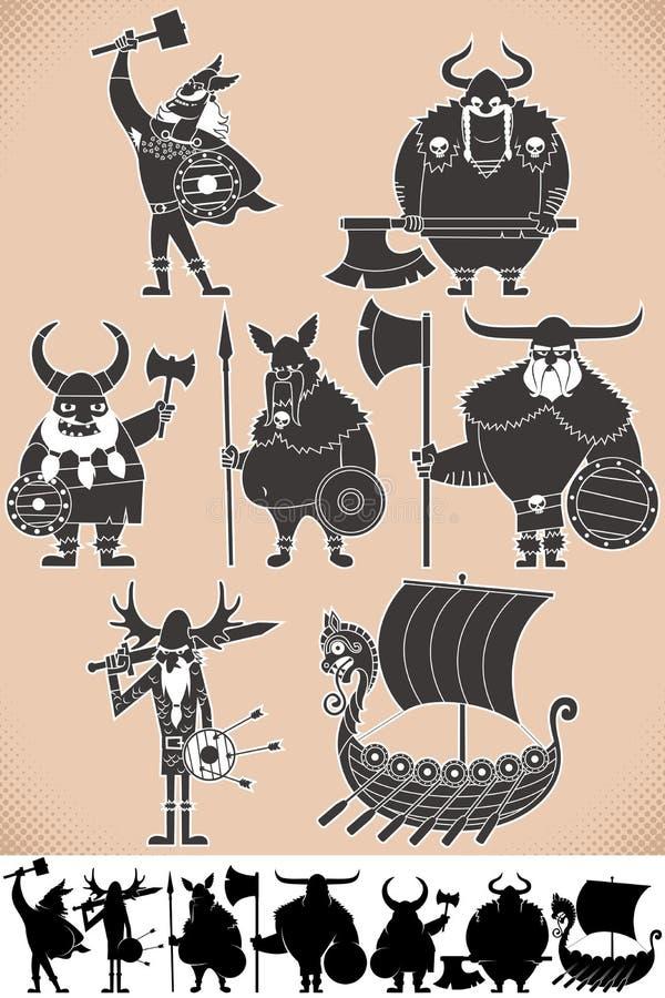 Viking sylwetki ilustracja wektor