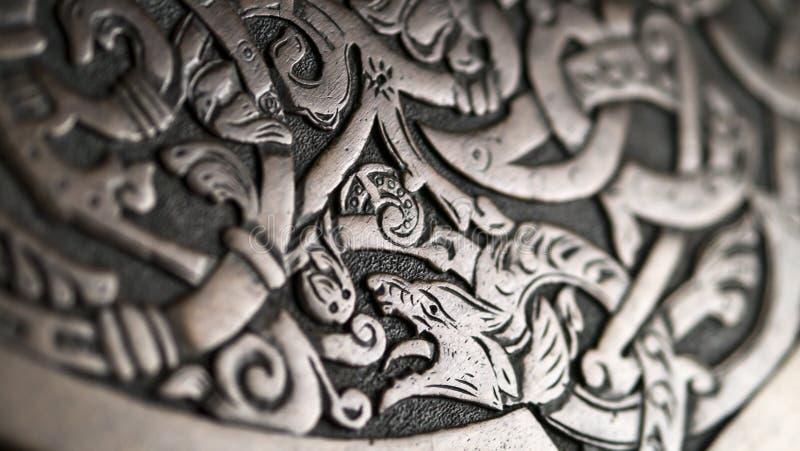 Viking träskulptur royaltyfria bilder