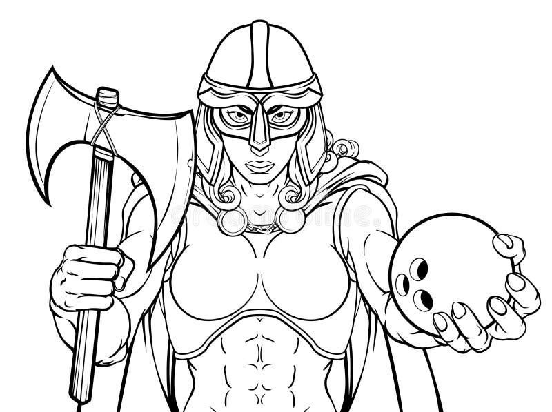 Viking Trojan Celtic Knight Bowling krigarekvinna royaltyfri illustrationer