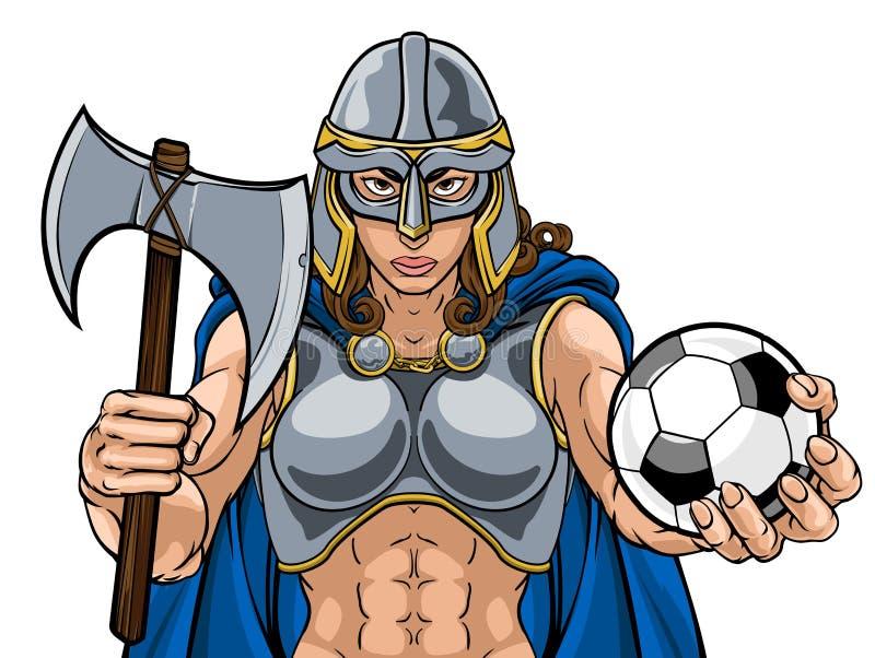Viking Trojan Celtic Knight Soccer-Kriegers-Frau lizenzfreie abbildung