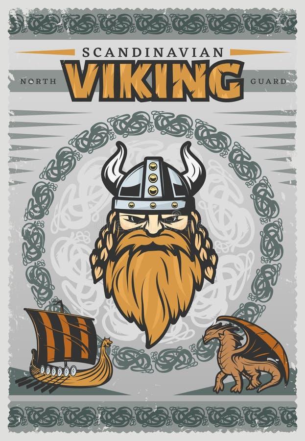 Viking Vintage Poster stock illustration