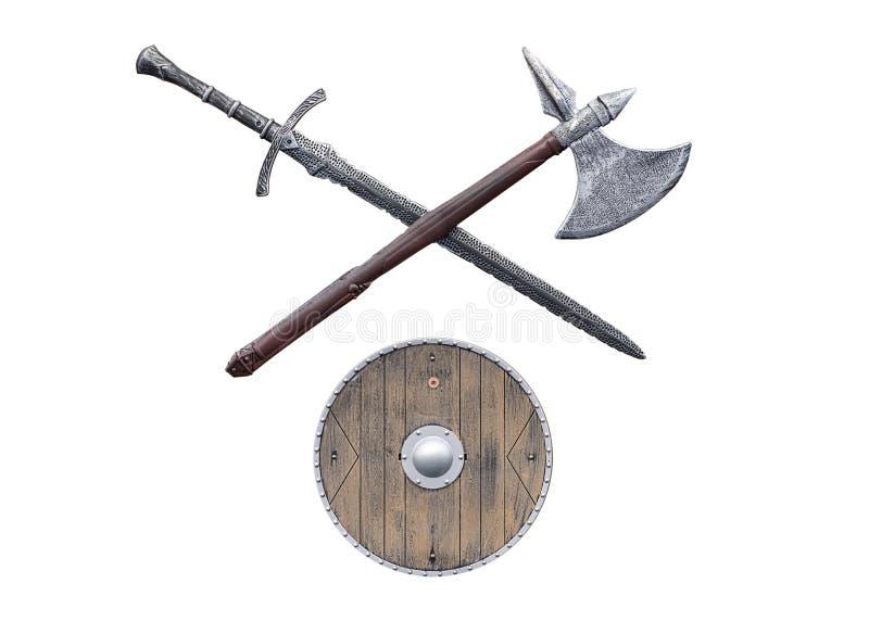 Viking-wapens op witte achtergrond worden geïsoleerd die royalty-vrije stock fotografie