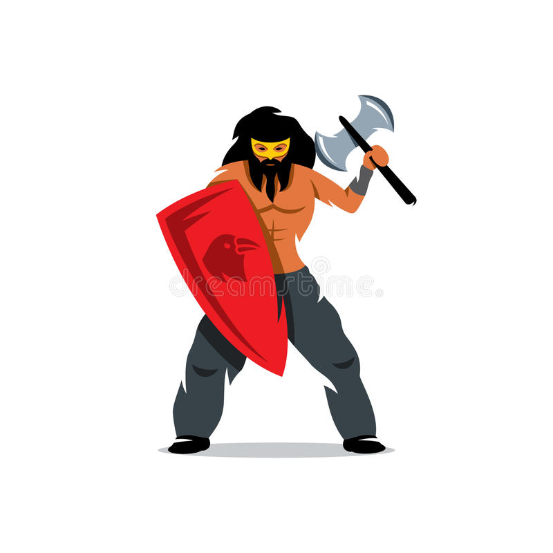 Viking warrior with ax and shield. Vector Cartoon Illustration. royalty free illustration