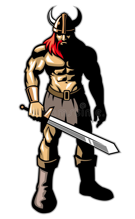 Viking warrior with big sword royalty free illustration