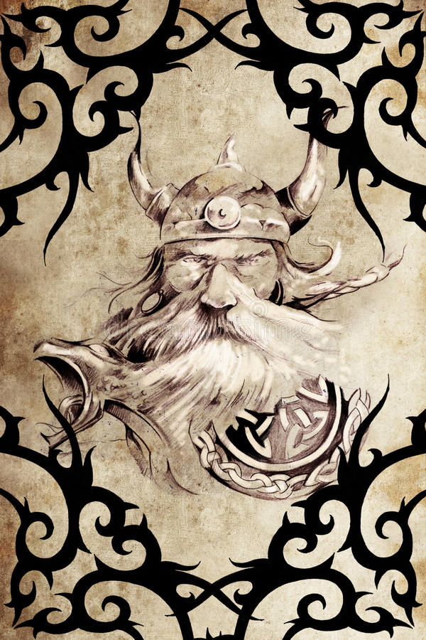 Viking warrior decorated with tribal artworks stock illustration