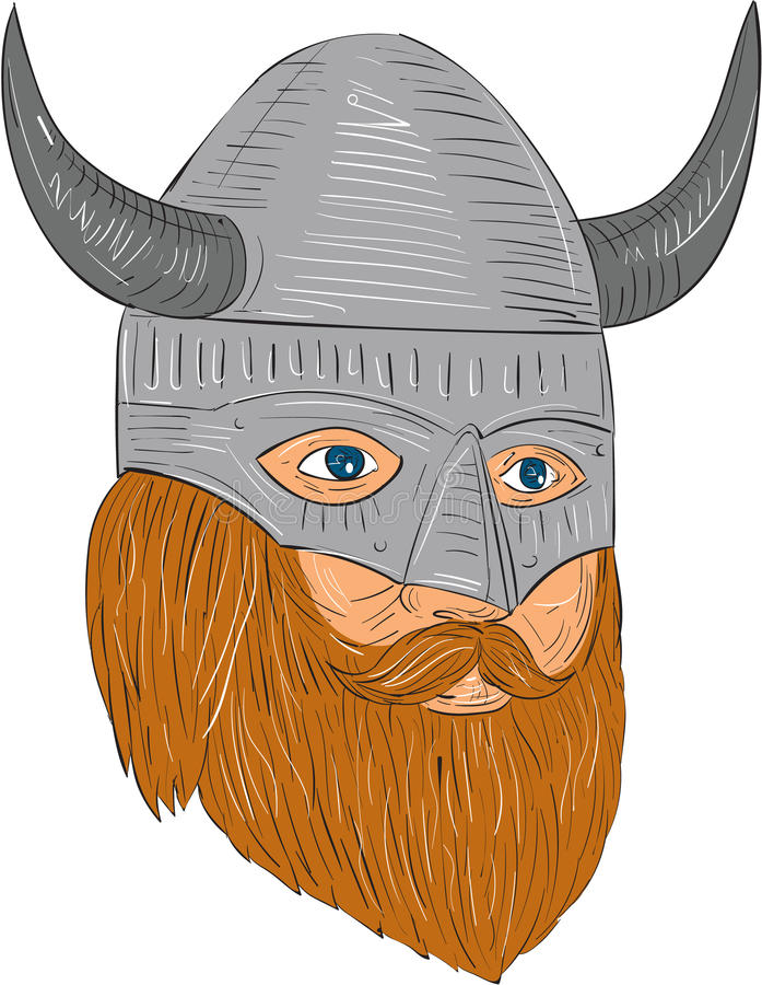 Viking Warrior Head Three Quarter View Drawing. Drawing sketch style illustration of a norseman viking warrior raider barbarian head with beard wearing horned vector illustration
