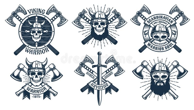 Viking warrior mascot set stock illustration