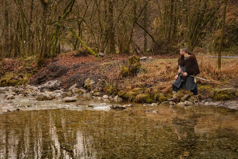 Viking warrior on the river. Landscape image stock image