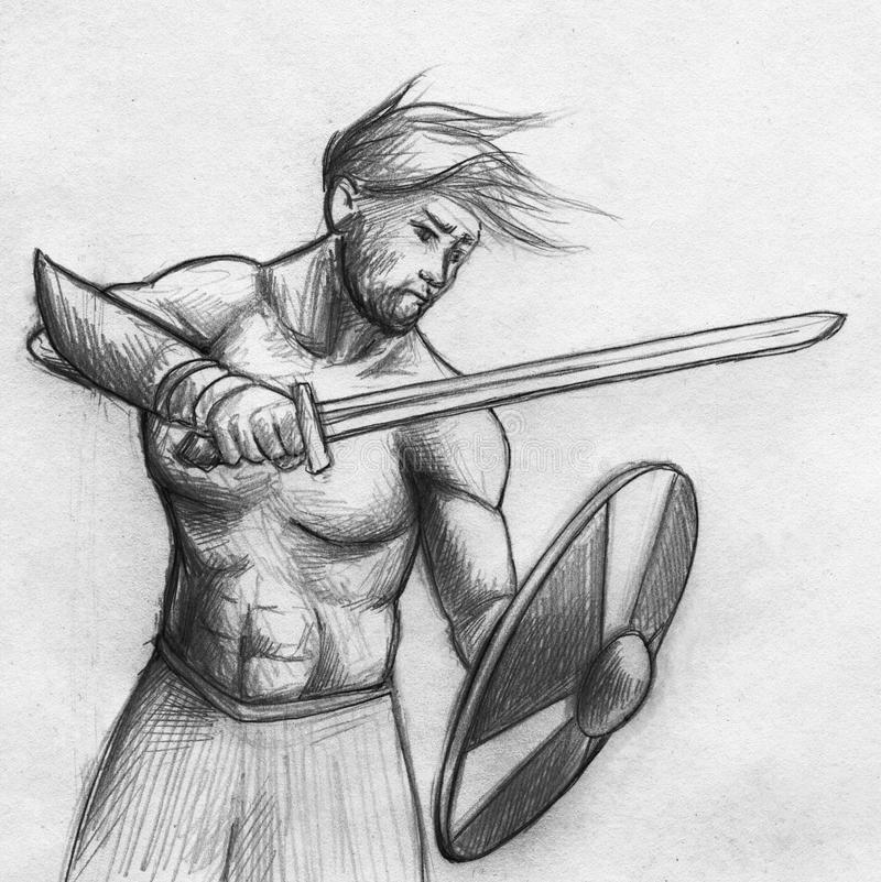 Viking warrior sketch royalty free stock photography