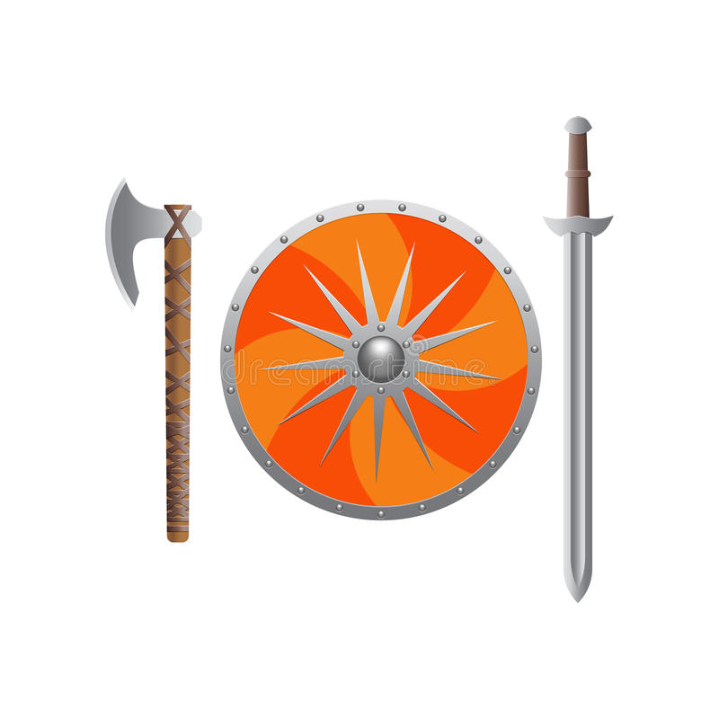 Viking weapon realistic. stock images