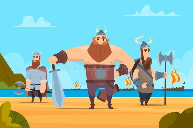 Viking wojowników tło Średniowiecznych autentycznych militarnych charakterów kreskówki wektorowego krajobrazu norwescy ludzie royalty ilustracja