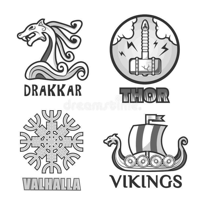 Viking wojowników scandinavian antyczne etykietki ustawiają statek, ręk osłony i hełm, ilustracji