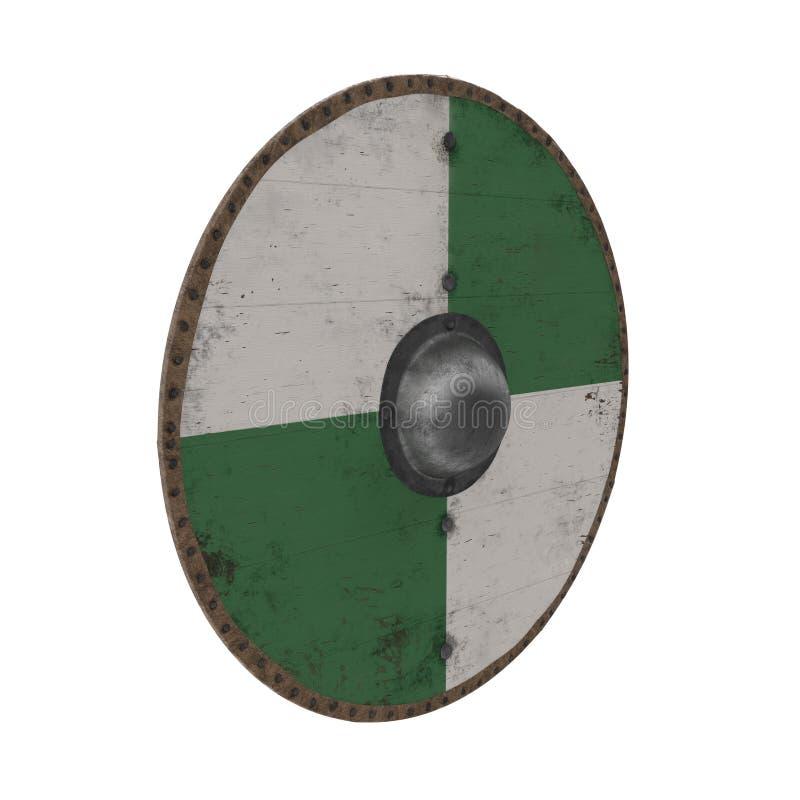 Viking Wooden Shield redondo medieval no branco ilustração 3D ilustração royalty free