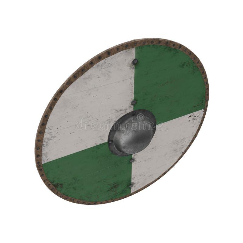 Viking Wooden Shield redondo medieval no branco ilustração 3D ilustração do vetor