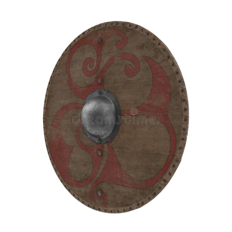Viking Wooden Shield redondo medieval no branco ilustração 3D ilustração stock
