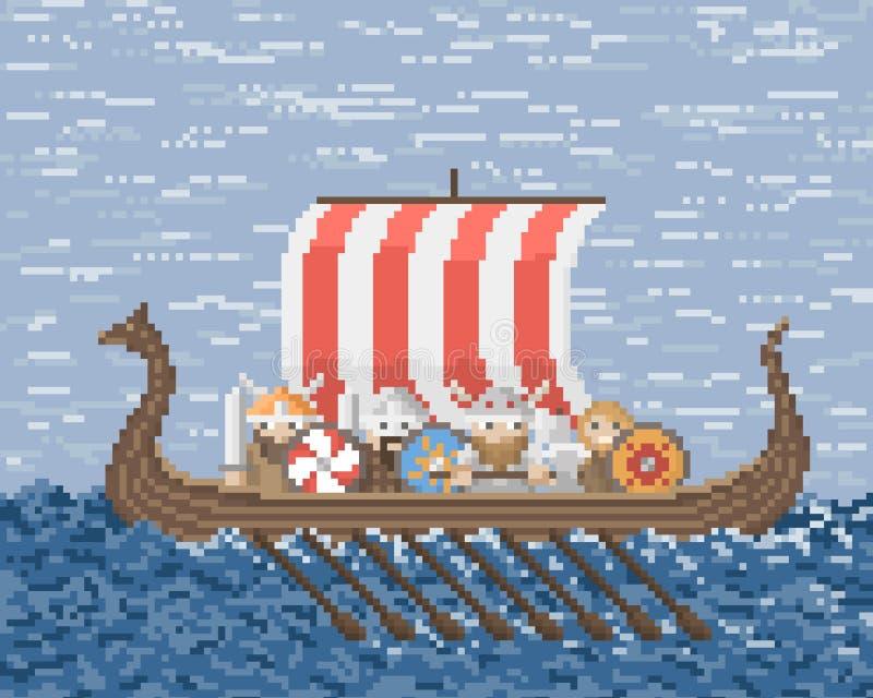 Vikingar seglar på ett skepp på havet vektor illustrationer