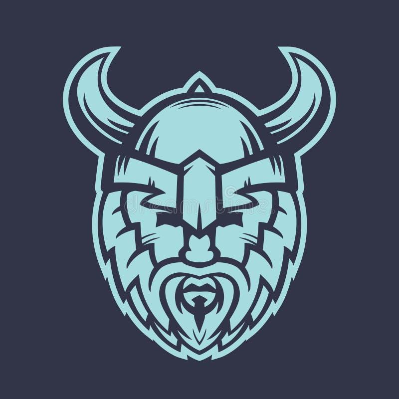 Vikinglogobeståndsdel, krigare i hjälm med horn stock illustrationer