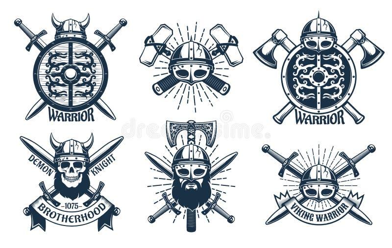 Vikinglogouppsättning i retro stämpelstil stock illustrationer