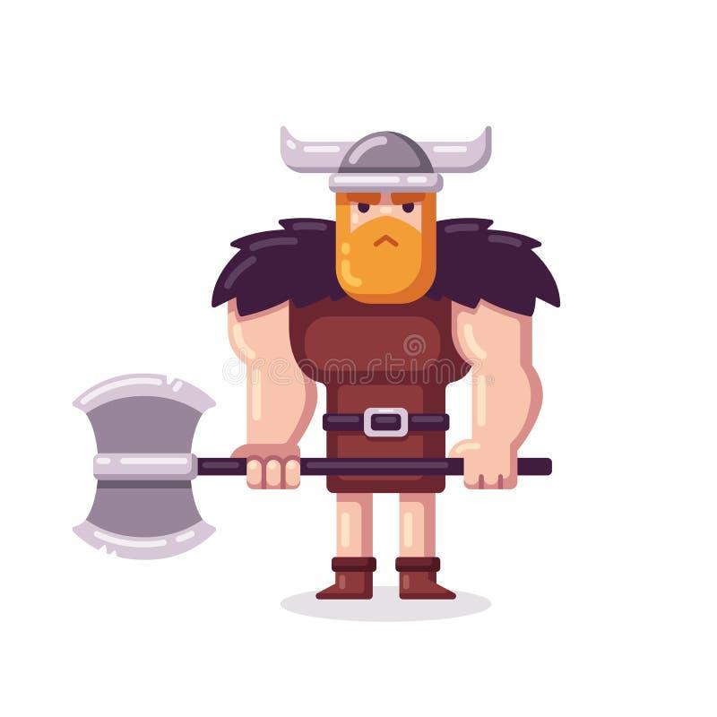Vikingo con el hacha stock de ilustración