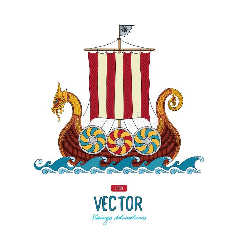 Vikingo drakkar Navegación de la nave de Drakkar en el mar tempestuoso ilustración del vector