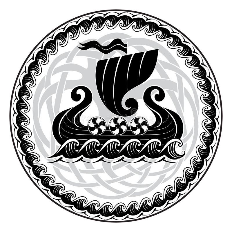 Vikingo drakkar Navegación de la nave de Drakkar en el mar tempestuoso y el árbol mítico Yggdrasil libre illustration