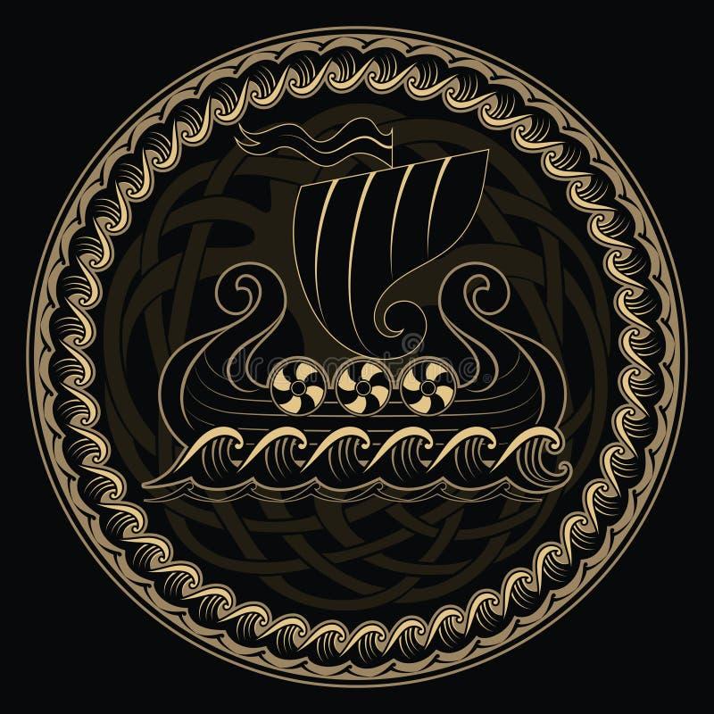 Vikingo drakkar Navegación de la nave de Drakkar en el mar tempestuoso y el árbol mítico Yggdrasil stock de ilustración