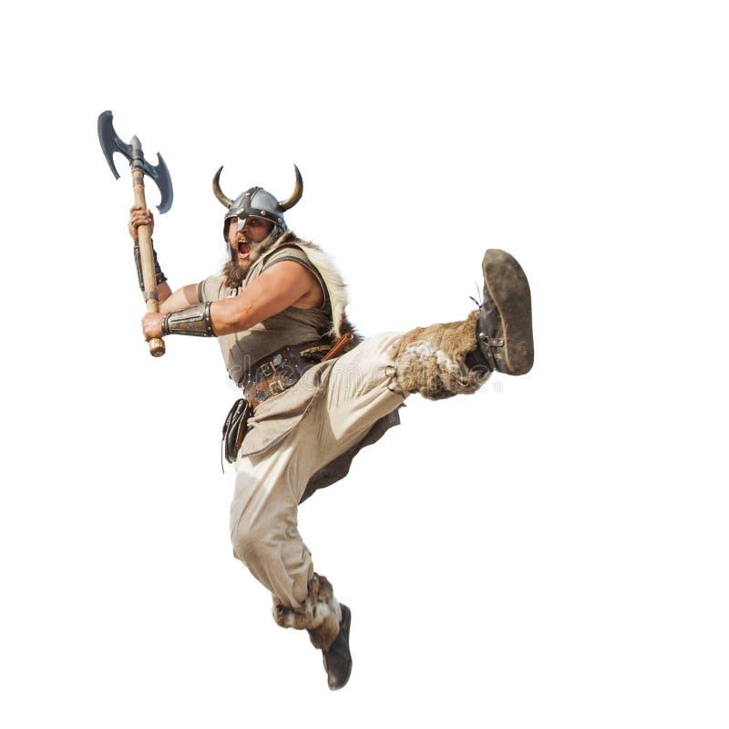 Vikingo fuerte loco aislado en el fondo blanco imagen de archivo