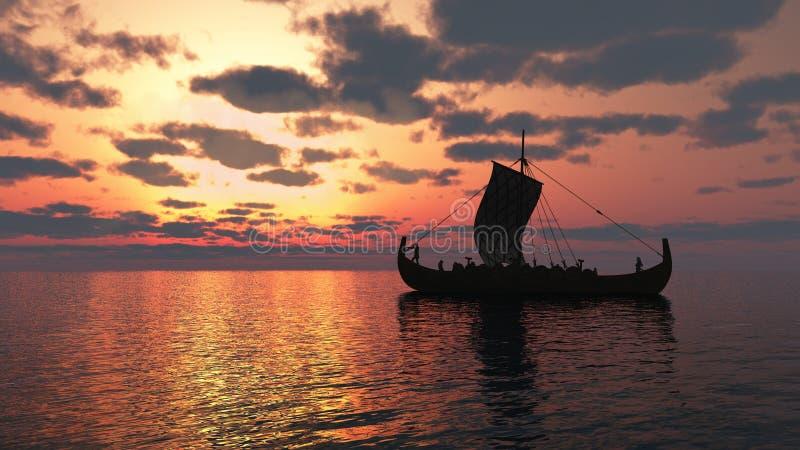 Vikingo Longship en la puesta del sol ilustración del vector