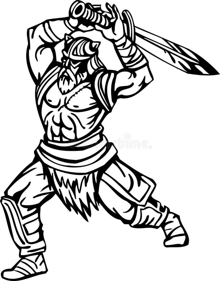 Vikingo nórdico - ilustración Vinilo-listo ilustración del vector