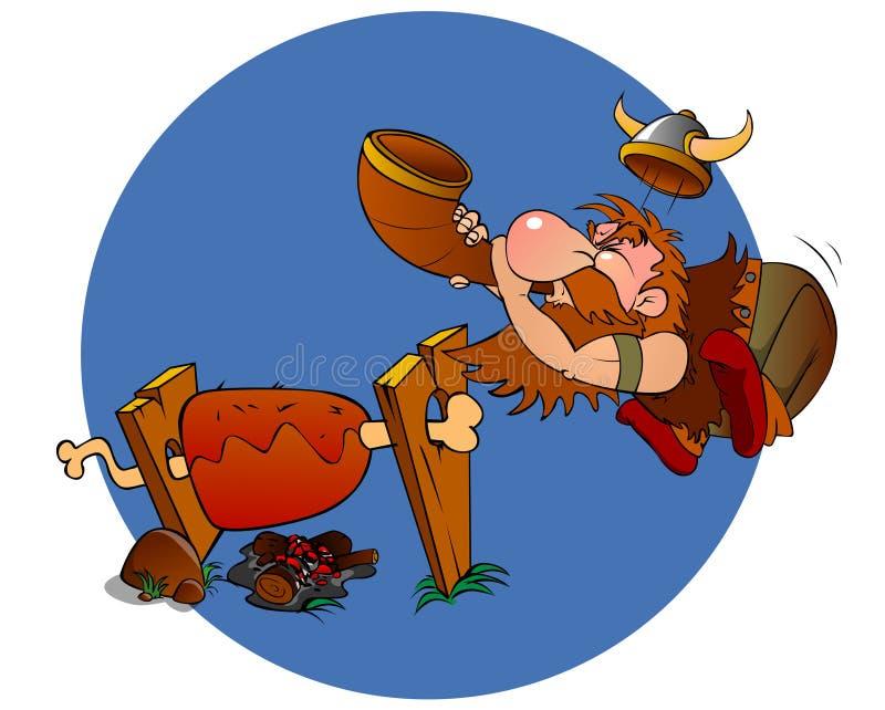 Vikingo que cocina la barbacoa ilustración del vector