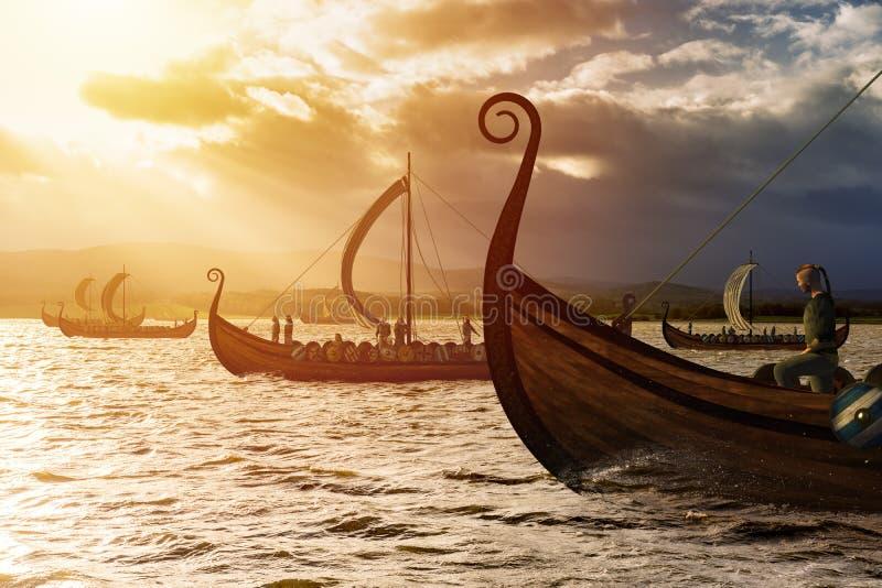 Vikingos en la tormenta imagenes de archivo