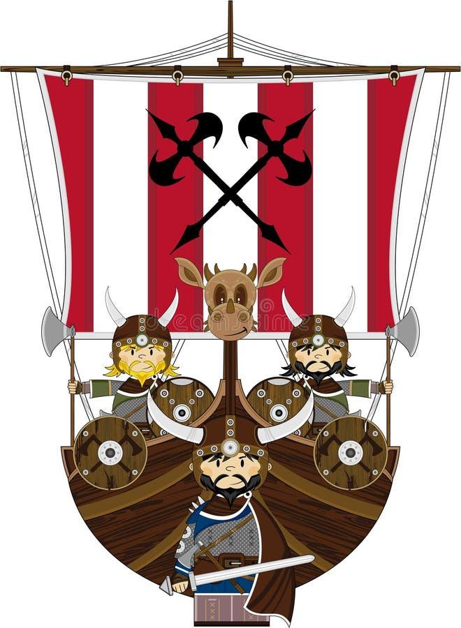 Vikingos y nave feroces stock de ilustración
